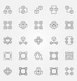 blockchain icons set - block chain concept vector image vector image