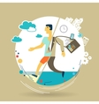 businessman escapes from work to rest vector image