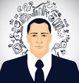 Businessman with business doodles vector image vector image
