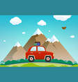 car with luggage rides against a mountain vector image