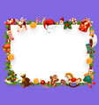 christmas greeting card blank frame decorations vector image