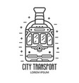 city retro tram logo in outline design vector image vector image