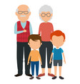 cute grandparents couple with kids characters vector image vector image
