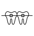 dental braces line icon with editable stroke vector image