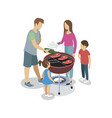 family cooking at grill vector image