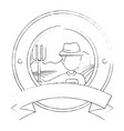 farmer with rake seal stamp vector image