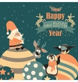Funny penguins with Santa Claus celebrating vector image vector image
