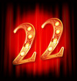 gold numbers 22 greeting card vector image vector image