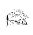 hand drawn landscape with mountains rocky vector image vector image