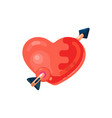 heart pierced by an arrow flat design style vector image vector image