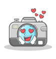 in love photo camera character cartoon vector image