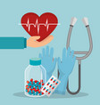 medical healthcare with set icons vector image vector image