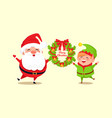 merry christmas congratulation from santa and elf vector image vector image