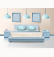 modern bedroom design with trendy lighting cartoon vector image