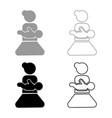 mother holding baby on hand icon set grey black vector image vector image