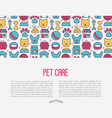 pet care concept with thin line icons vector image vector image