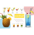 realistic summer cocktails collection vector image