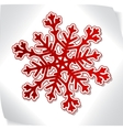 red paper snowflacke over blank sticker vector image vector image