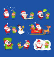 santa and elf collection vector image vector image