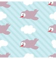 Seamless pattern with birds in clouds on striped vector image