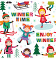 seamless pattern with kids in winter time vector image vector image