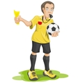 Soccer referee whistles and shows yellow card vector image