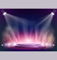 spotlights illuminates a round stage disco night vector image