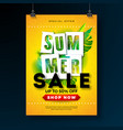 summer sale poster design template with tropical vector image vector image