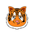 tiger face kawaii vector image vector image