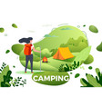 tourist girl camp bonfire vector image