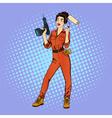 Woman in Uniform Woman Doing Repairs vector image vector image