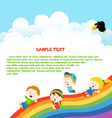 Kids Enjoying Rainbow vector image