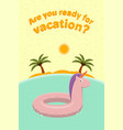advertising poster for a travel agency with rubber vector image