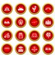 Amusement park icon red circle set