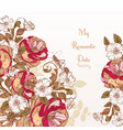 background with hand rose flowers vector image vector image