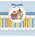 birthday greeting card with cake and teddy bear vector image vector image