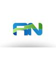 blue green rn r n alphabet letter logo vector image vector image