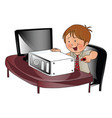 boy repairing a cpu vector image vector image