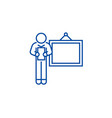 business presentation speaker line icon concept vector image vector image