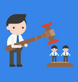 businessman holding hammer other coworkers vector image vector image