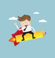 businessman riding pencil rocket go to target vector image