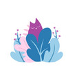 cat in the bushes sleeping peacefully abstract vector image