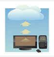 cloud uploading vector image vector image