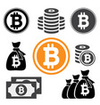 collection icon bitcoin sign for internet money vector image