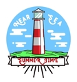 Color vintage summer season emblem vector image vector image