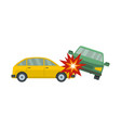 crashed car icon flat style vector image vector image