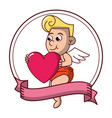 cupid with heart on round emblem vector image