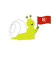 cute snail with flag isolated vector image