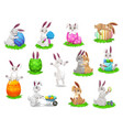 easter cartoon rabbits with painted eggs vector image