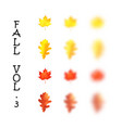 falling realistic oak and maple leaves set with vector image vector image